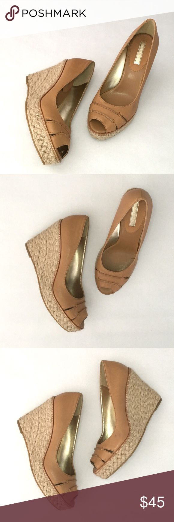 """Banana Republic Dylan jute wedges, NIB Tan leather paired with jute, NIB, 4 1/2"""" heel with a 1 1/4"""" platform.  These are brand new, unworn with box.  Box has some damage.  There is a small manufacturing defect on the front side on left shoe as shown in images.  Low vamp. Banana Republic Shoes Wedges"""