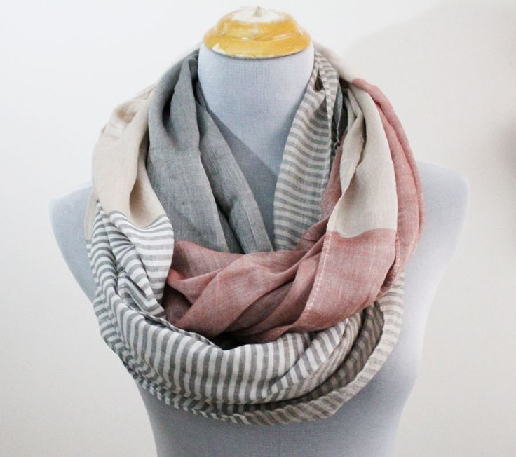On Sale Gray Stripe and Color Block Infinity Scarf Chunky and Silky Khaki Scarf Infinity Scarf by dailyaccessoriez on Etsy