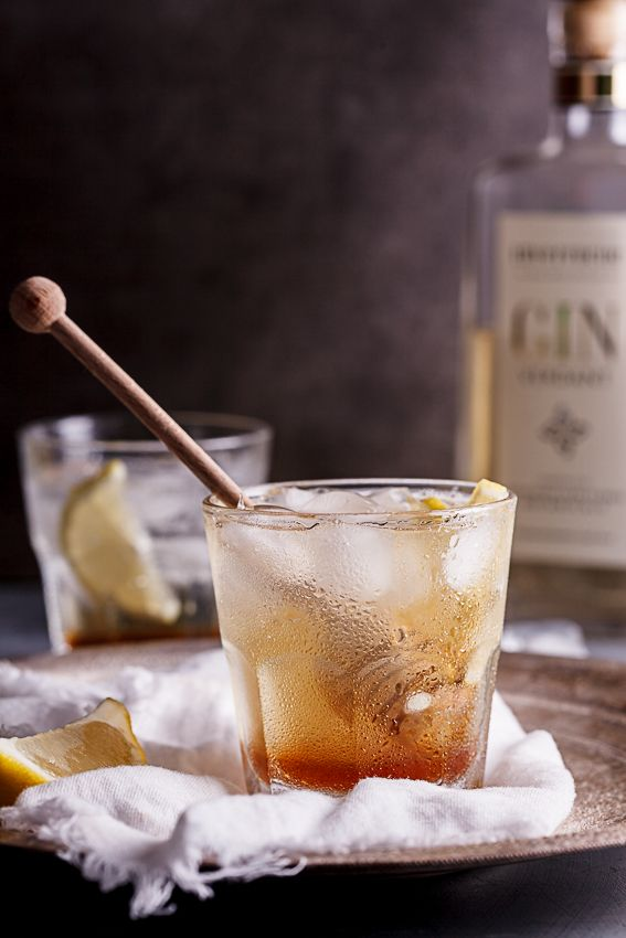 Gin cocktail with honey and lemon cordial-the perfect accompaniment to a lazy summer's evening