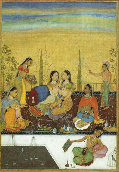 Harem ladies, Mughal miniature