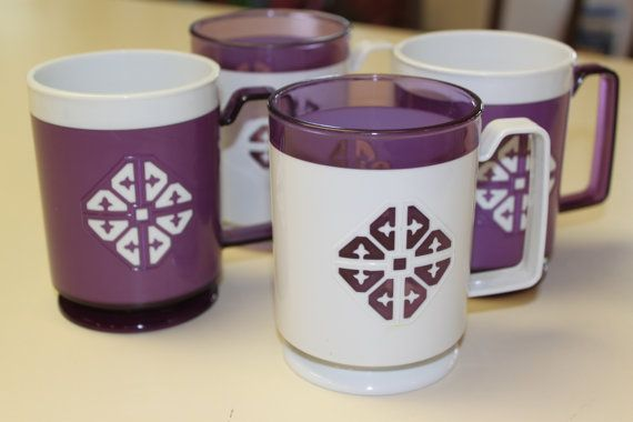 Retro Purple and White Plastic Mugs By Chalet Set by CELESTESCHALL, $20.00
