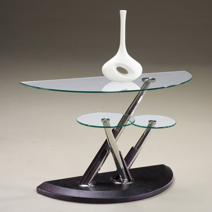 magnussen modesto metal and glass half moon console table