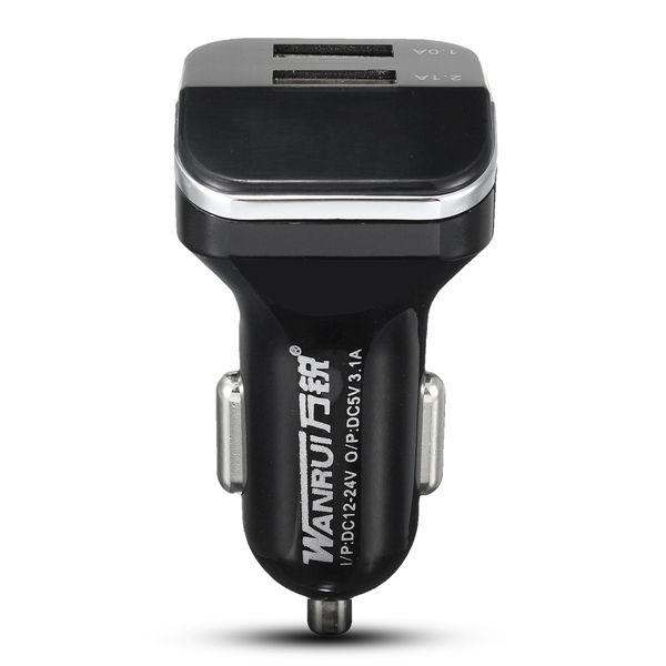 Adaptador de enchufe USB de doble puerto de carga para el vehículo más ligero 3.1a para 12-24v teléfono móvil
