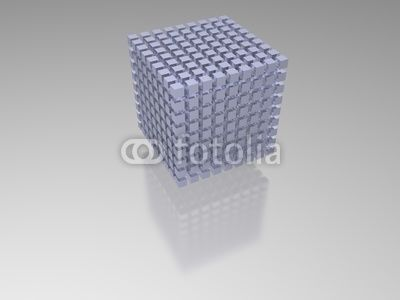 3D-modeled set of blue cubes lined up in the shape of a structured bigger cube, representing a database, and referring to concepts such as referring to concepts such as structure, geometric shapes, data storage, relational databases, web hosting, centralization of the information, as well as computer systems / ID 13529796 / Copyright JNT Visual