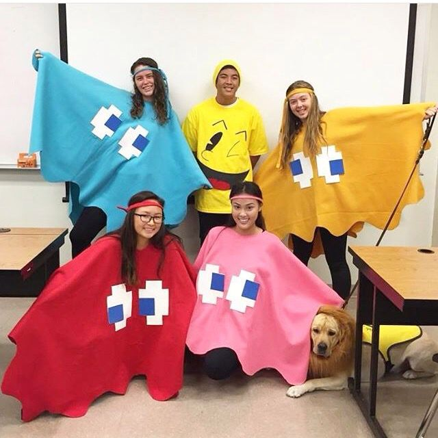 easy and fun diy group costume for halloween pacman and the ghosts - Group Of 4 Halloween Costume