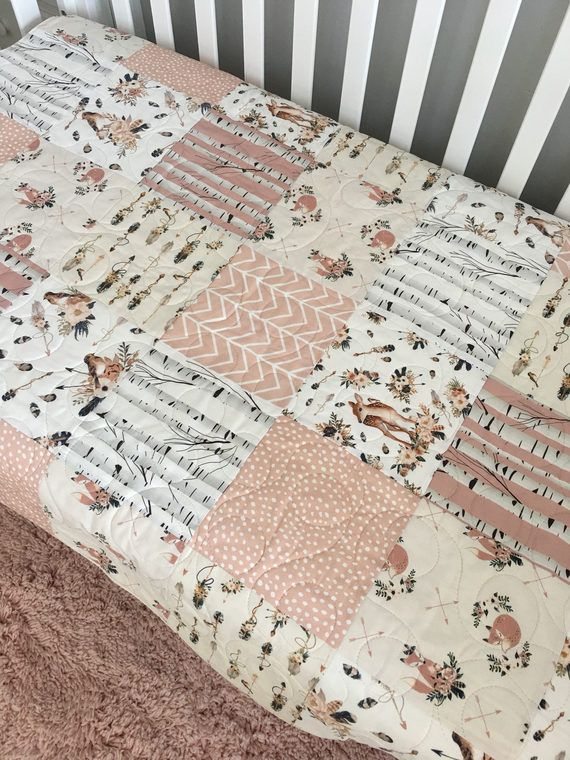 9609972f4d77f Boho Baby Quilt Fox Crib Bedding Girl Woodland Nursery Girl | baby ...