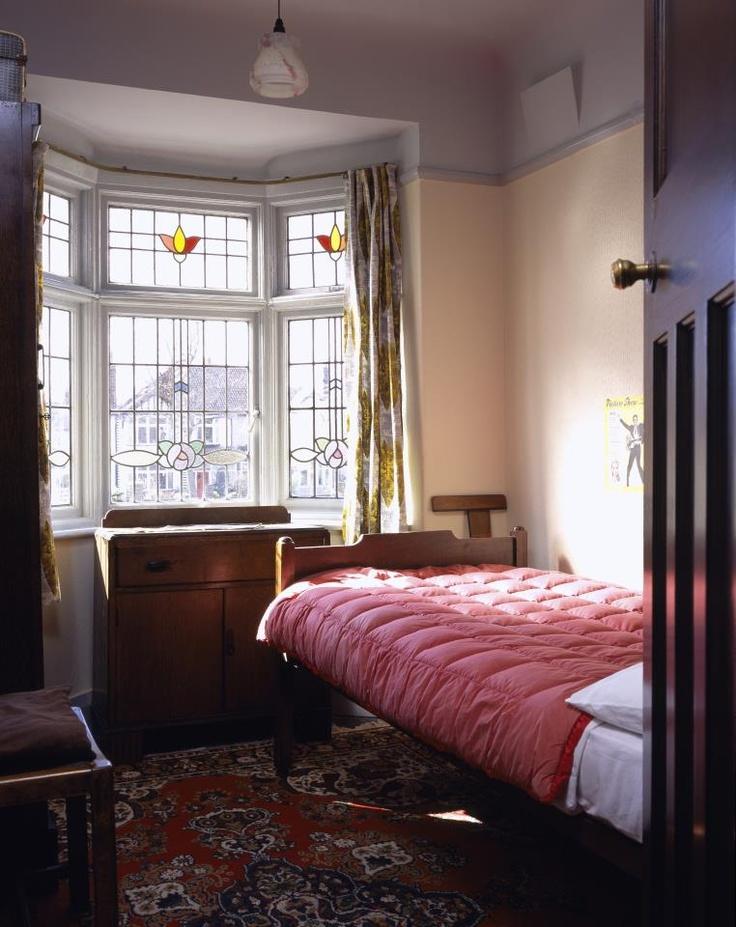 John Lennon's bedroom at Mendips, in Liverpool. John composed several early Beatles songs here. Photo credit: Dennis Gilbert.