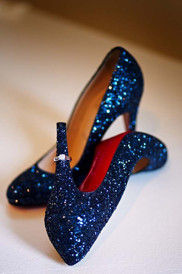Sparkling blue louboutins, dazzling statement shoes that add a fun and daring statement to a beautiful white bridal gown.