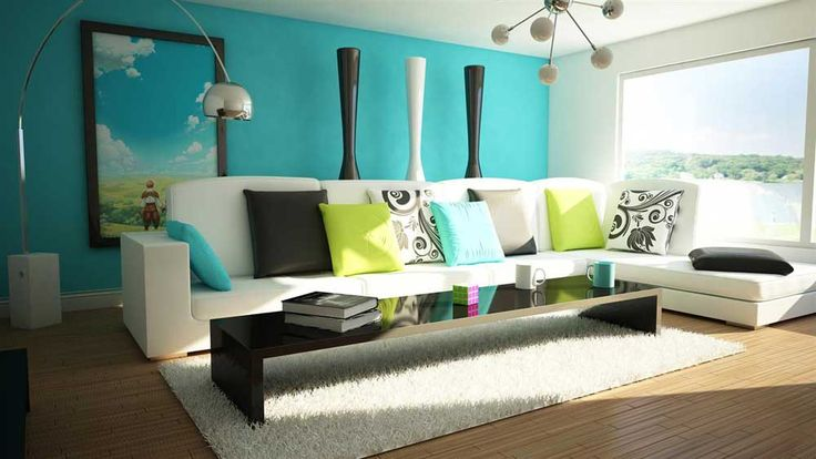 Teal Lounge Design with white small space bedroom walls and blue wood floors fitted sofas carpet table chandelier lamp