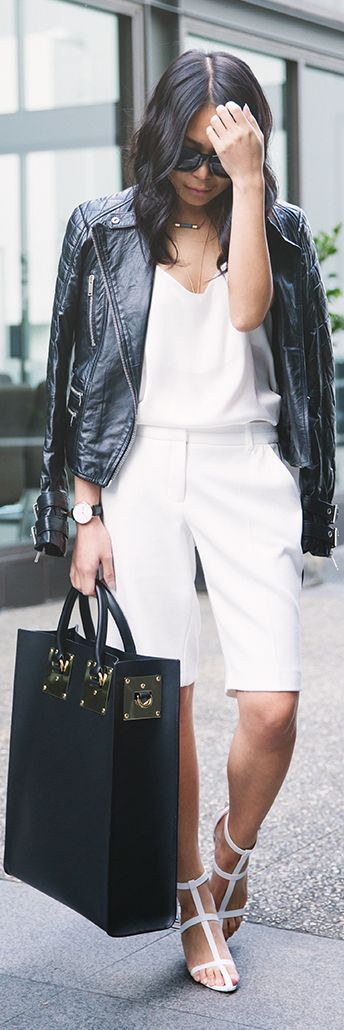 Alexander Wang White Basic T-strap Ankle Sandals With White Top & White Bermuda Shorts & Black Leather Jacket & Tote