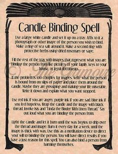 Candle Binding Spell, Book of Shadows Page, Rare Wiccan Spell, Real Occult Magic