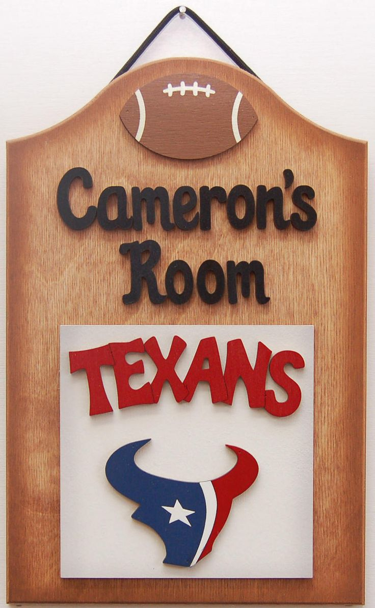 Texans Football Personalized wooden sports sign Texas Texans wooden football sports fans sign teen sports room sign personalized football by UCsportsbyBill on Etsy