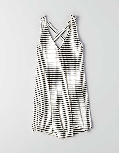 AEO Soft & Sexy Cross-Back Shift Dress, White | American Eagle Outfitters