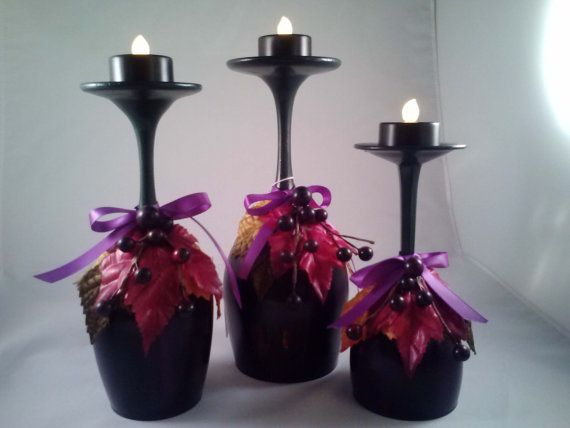 Fall Wine Glass Candle Holders by CraftsNNat on Etsy, $25.00