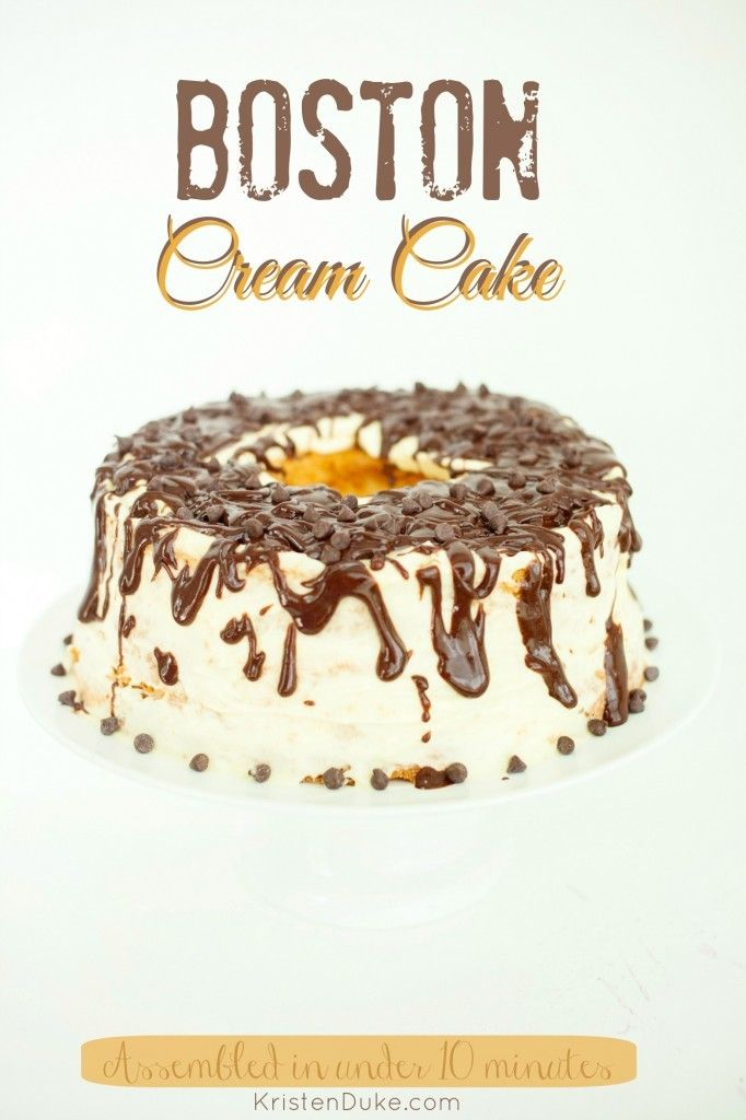 Boston Cream Cake - Dress up a pre-made Angel food cake. Prepared in just 10 minutes! Tastes like Boston cream pie and an eclair doughnut.