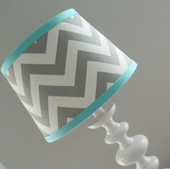 Small Gray White Chevron lamp shade with by babymilanbedding