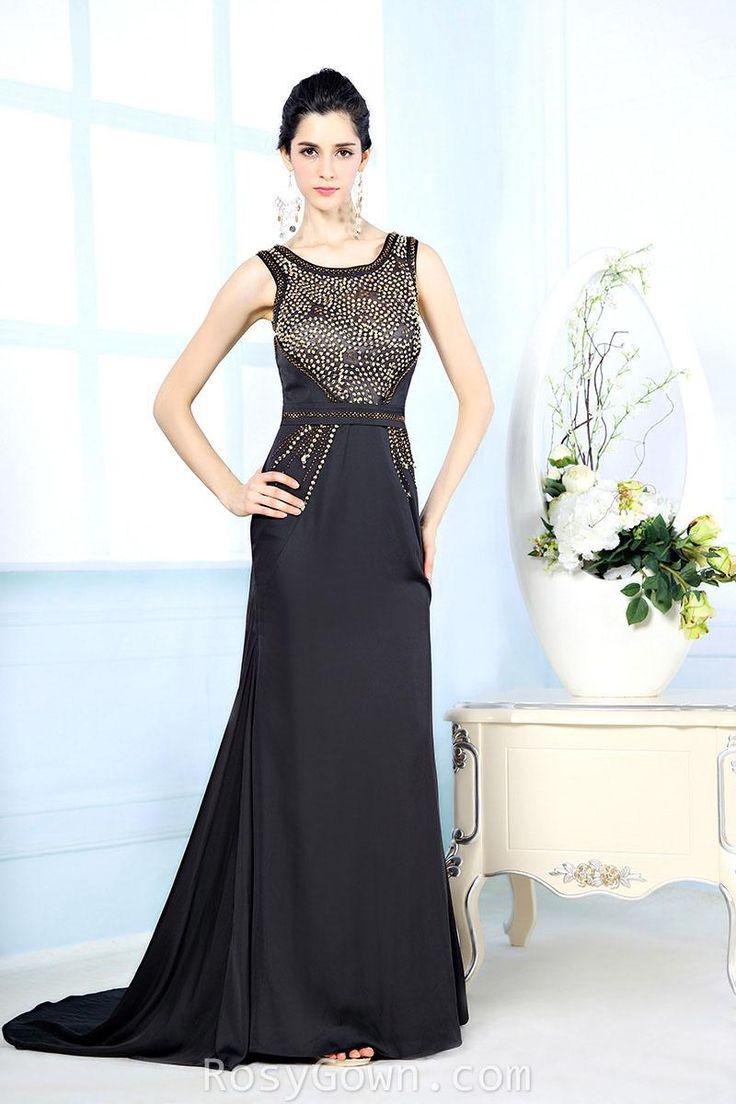 #elegant beaded sleeveless bateau neck #black #satin #vintage formal dress