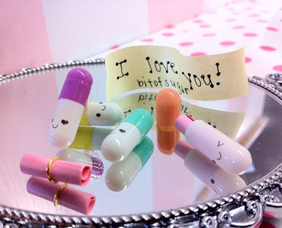 Kawaii Message Happy Pills - 2 Week Supply - Cute miniature happy pill medicine with happy face - message in a bottle. $12.50, via Etsy.