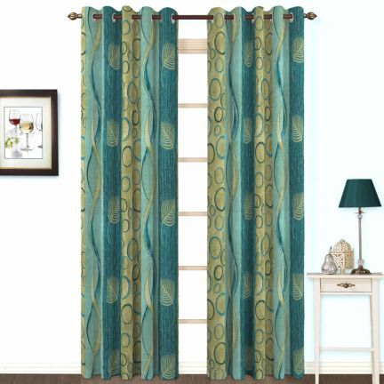 Skipper Blue And Green Eyelet Curtain - don't ship outside India!