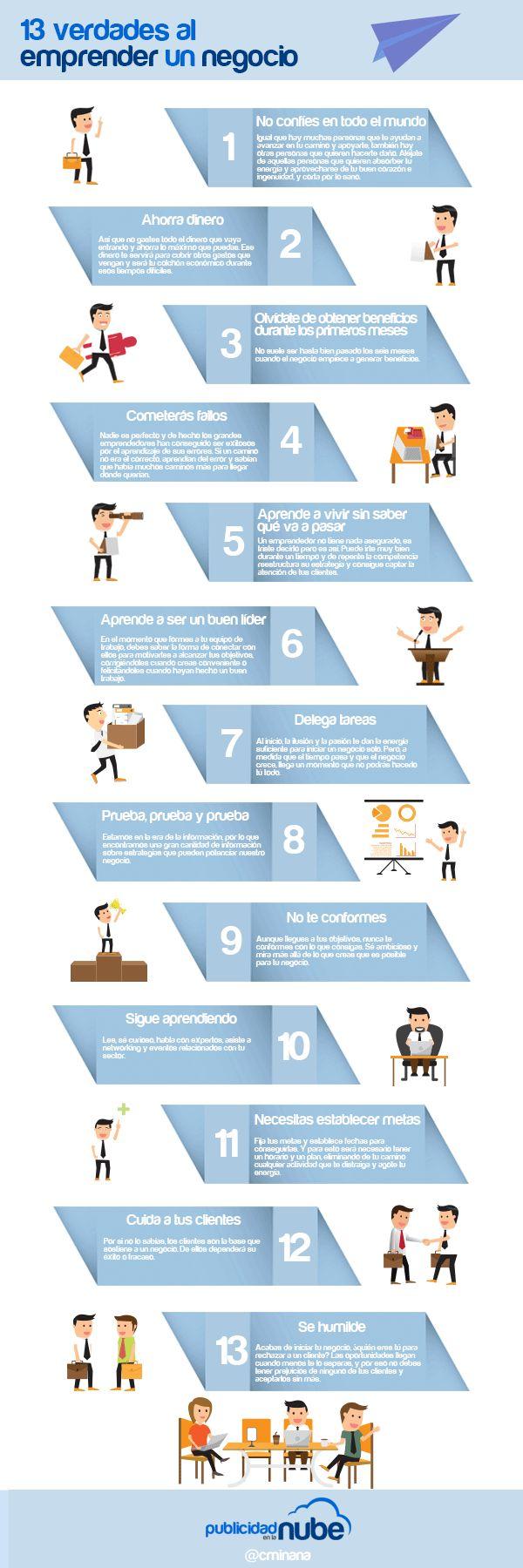 13 verdades al emprender un negocio.    #infografias #emprendedores