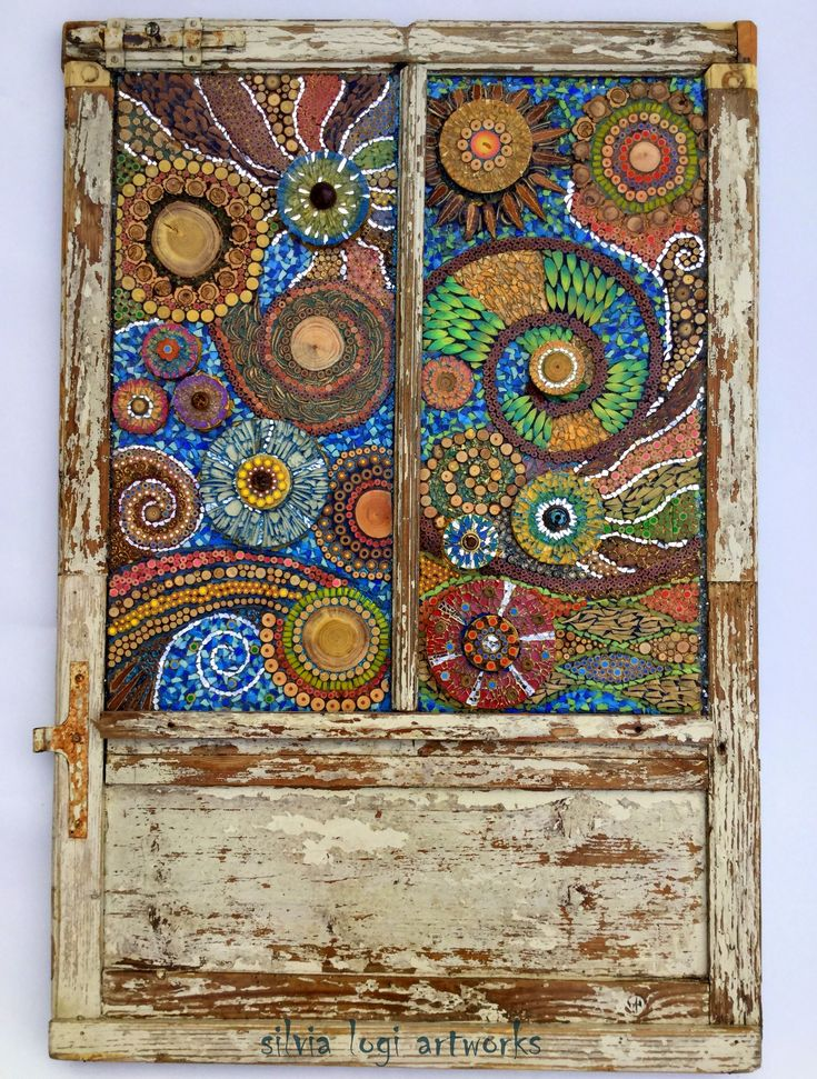 Wall panel in my mixed media mosaic on old wood window frame. See more on my FB page Silvia Logi Artworks or www.silvialogi.it