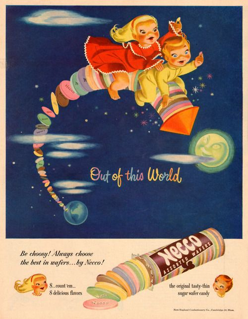 This vintage Necco ad is too cute for words! #vintage #food #candy #ads