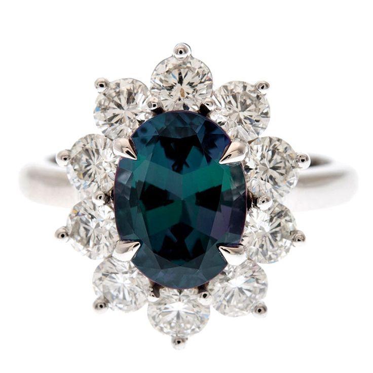Incredible Color Change Alexandrite U0026 Diamond Platinum Ring