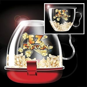 "EZ Popcorn - Healthy, safe and fun! Easy and 1-2-3! Add popcorn & oil, place in the microwave, and VOILA! Ideal for all occasions. Top becomes the bowl for fewer dishes and easy clean up. Microwave and dishwasher safe. (6""H x 5-1/2""Diam) (Product Number AP6622) $19.98 CAD www.davesgift.shopregal.ca"