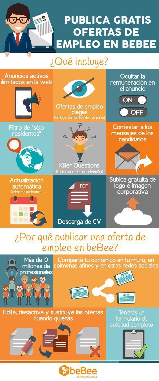 Publica gratis ofertas de trabajo en BeBee #infografia