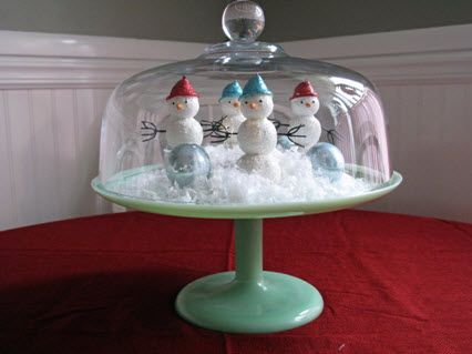 i just need to find a jadite cake plate!!!...wait!... I can just spraypaint one I have !: Holidays Christmas Decor Ideas, Cakes Display, Snow Globes, Cakes Plates, Cakestand Decor, Christmas Theme, Fun Ideas, Christmas Ideas, Cakes Stands