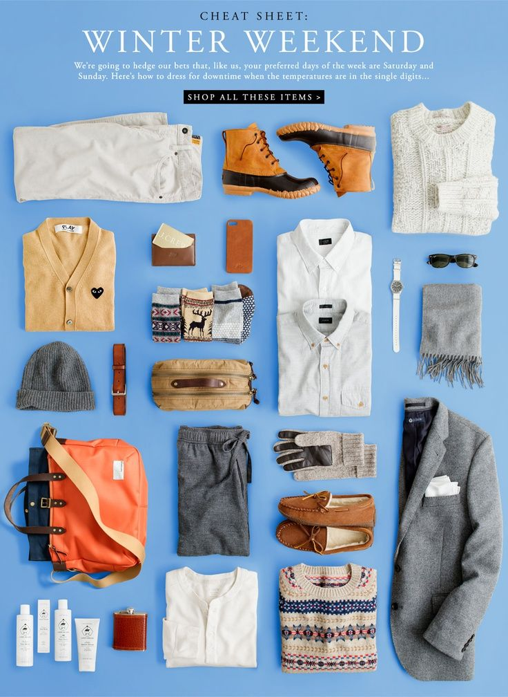 "Winter Weekend Cheat Sheet (these pieces, and as a collective ""look"" overall might be a bit too conservative for my man…but these are classic pieces (even if in different colors, even if all those knits were black or grey) that can pull together any guy's wardrobe!"
