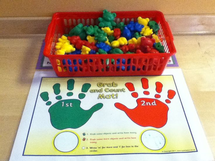 Independent maths area. Using the grab and count mats with the Compare Bears, children are able to estimate, count, identify how many in a set and how many altogether. EYFS Links: Mathematics, Numbers.