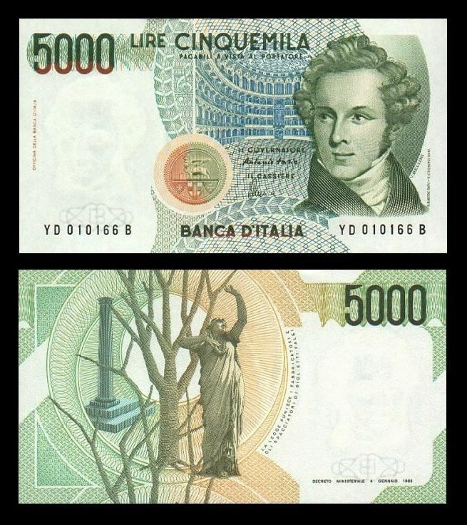 #2000 - In Italia viene stampata l'ultima banconota della Lira Italiana, erano 5.000 Lire. #lire #moneta #italia #100 #100anni #BNL