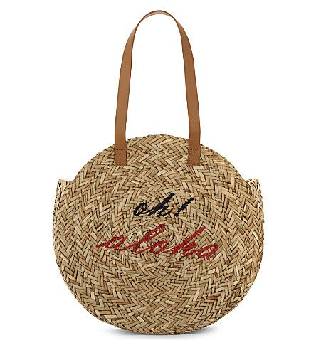 WHISTLES Oh! Aloha Rounded Straw Tote. #whistles #bags #leather #hand bags #tote #