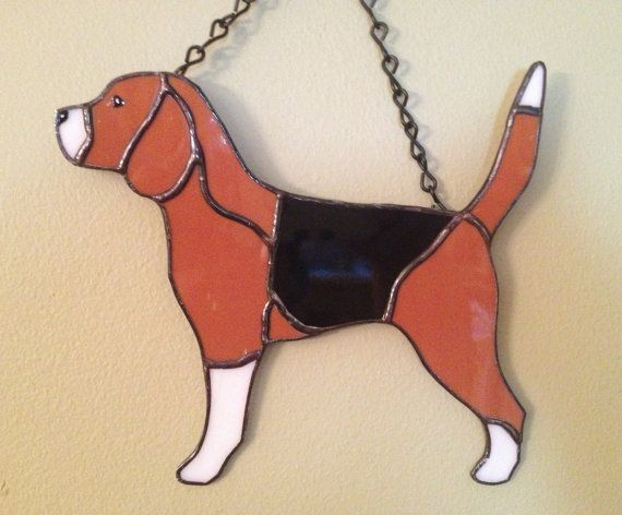 Beagle Stained Glass by GlassiqueCreations on Etsy, $25.00