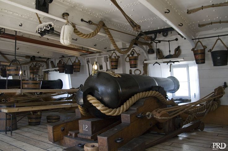 HMS Warrior... much of a time, the deck and bulkhead was painted deep red... so when the scene was awash with blood... the gun crew was not distracted from their duty... sand was tossed on the deck to reduce slipping in it...