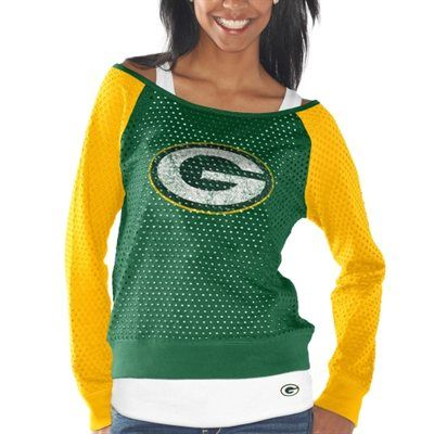 Womens Green Bay Packers Green/Gold Holey Long Sleeve T-Shirt and Tank Top