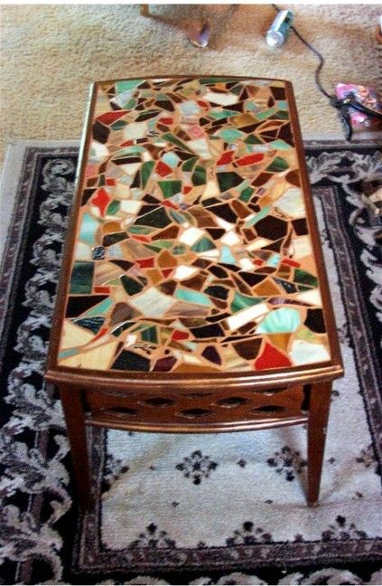 Antique coffee table - mosaiced by Juliana