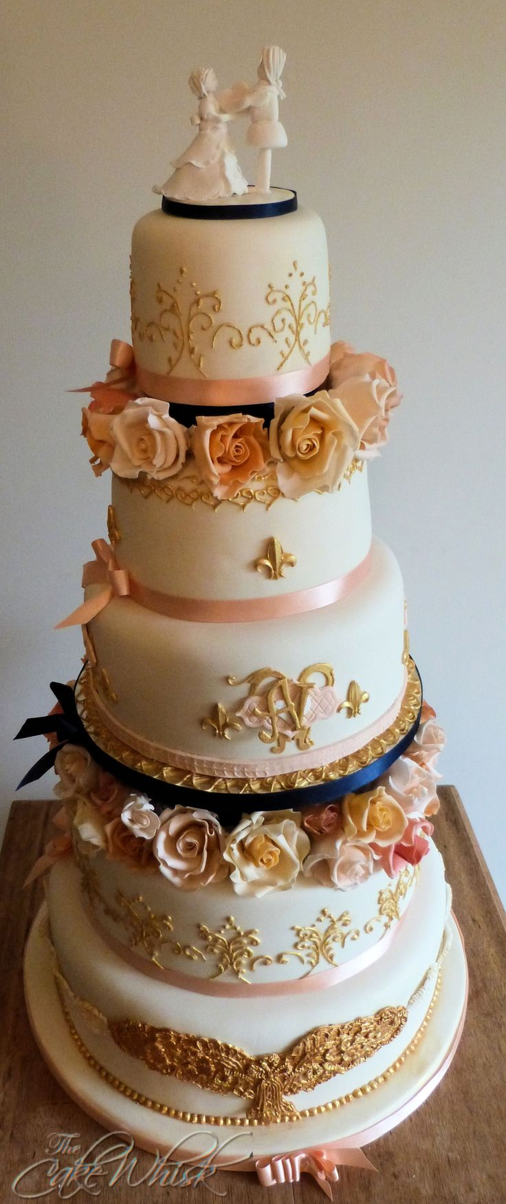 A 5 Tier Rich Fruit Cake In The Baroque Style White Marie Antoinette Topper Was Made For Keepsake As Were Hand Crafted Sugar Roses