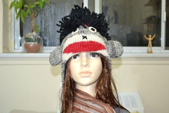 Grey hairy sock monkey animal hat  chullo and by HatsMittensEtc