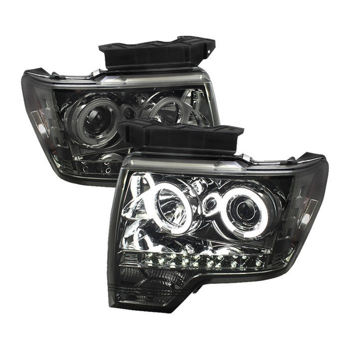 ( Spyder ) Ford F150 09-14 Projector Headlights - Halogen Model Only ( Not Compatible With Xenon/HID Model ) - CCFL Halo - LED ( Replaceable LEDs ) - Smoke - High H1 (Included) - Low H1 (Included)
