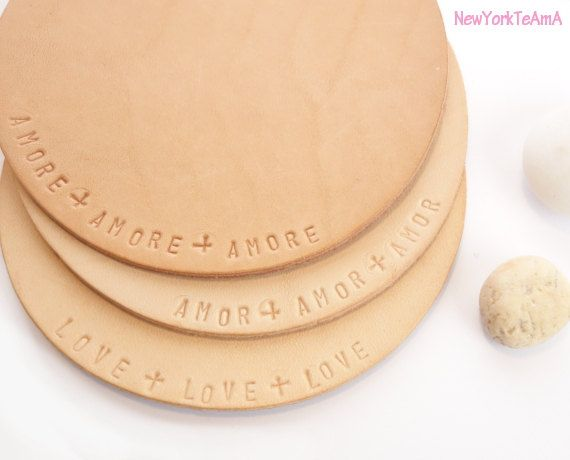 LOVE LOVE LOVE Leather Coasters : Perfect for Housewarming Gifts + Set of 4.  Amor, Amore, Amour + Love.