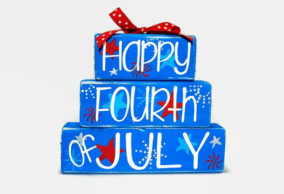 Happy Fourth of July Fireworks Stars Red White Blue WoodenBlock Shelf Sitter Stack measures approximately 5 x 4.5 and is topped with a coordinating ribbon. Colors as pictured: Bright blue, Red, Light Blue, Silver The designs in the shop simply stack together. To keep cost low on this
