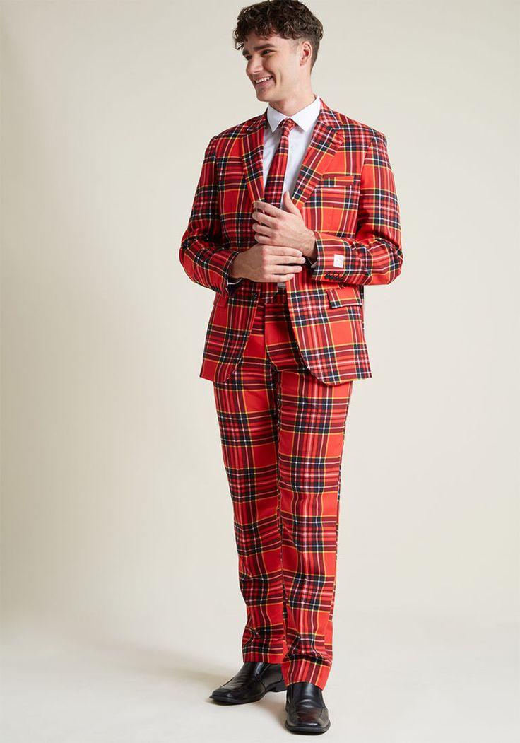 Plaid for Business Men's Suit