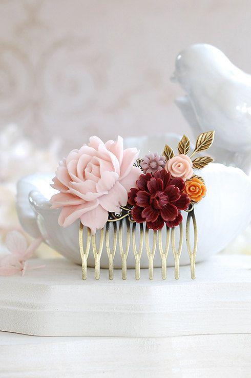 Fall Wedding Bridal Hair Comb Bridesmaid Gift Leaf by LeChaim