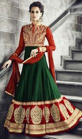 Green and Red Color Georgette Floor Length Anarkali Dress #longanarkali #anarkalisuitsatlowprice True beauty can come out with this green and red color georgette floor length Anarkali dress. The ethnic lace, patch and resham work within the clothing adds a sign of beauty statement with a look.  USD $ 143 (Around £ 99 & Euro 109)
