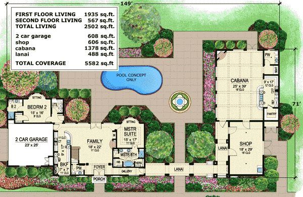 plan 36182tx fabulous cabana for entertaining house