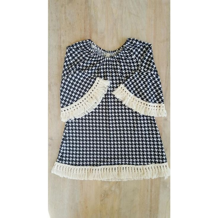 Kids Houndstooth Dress with Bell Sleeves