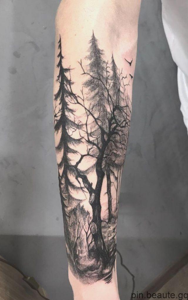 50 Beaux Et Significatifs Tatouages Darbres Inspires Par Le Sentier De La Nature Tree Sleeve Tattoo Forest Tattoos Nature Tattoo Sleeve