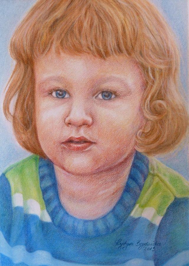 Krystyna Beata Bogdańska, portret chłopca (wykonany na zamówienie, 2013 rok) - format A3; technika: pastele, kredka portret | zoom | digart.pl